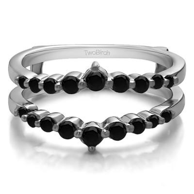 0.42 Ct. Black Stone Single Shared Prong Wedding Jacket Ring