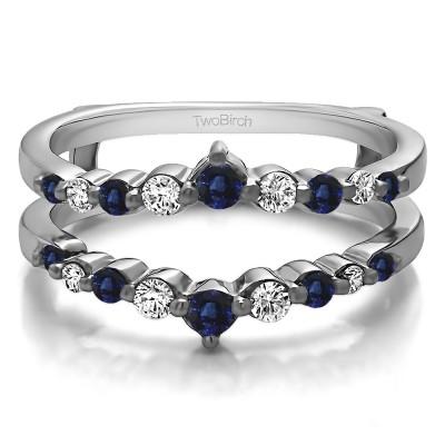 0.42 Ct. Sapphire and Diamond Single Shared Prong Wedding Jacket Ring