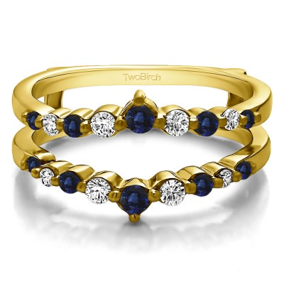 0.42 Ct. Sapphire and Diamond Single Shared Prong Wedding Jacket Ring in Yellow Gold