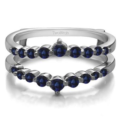 0.42 Ct. Sapphire Single Shared Prong Wedding Jacket Ring