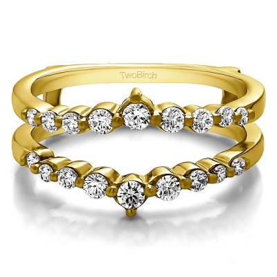 0.42 Ct. Single Shared Prong Wedding Jacket Ring in Yellow Gold