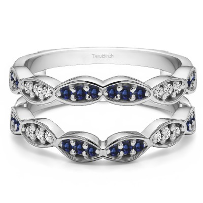 0.3 Ct. Sapphire and Diamond Vintage Stacking Guard Enhancer