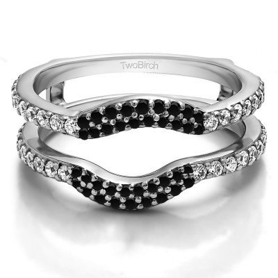 0.67 Ct. Black and White Stone Double Row Pave Set Curved Ring Guard