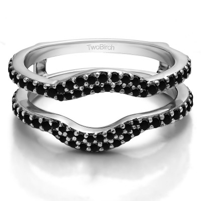 0.67 Ct. Black Stone Double Row Pave Set Curved Ring Guard