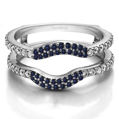 0.67 Ct. Sapphire and Diamond Double Row Pave Set Curved Ring Guard