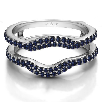 0.67 Ct. Sapphire Double Row Pave Set Curved Ring Guard