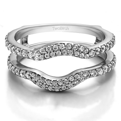 0.67 Ct. Double Row Pave Set Curved Ring Guard