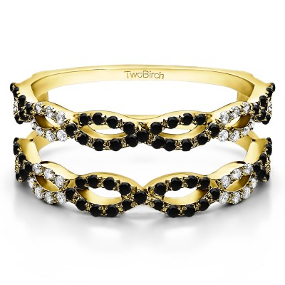 0.55 Ct. Black and White Stone Infinity Prong Set ring guard in Yellow Gold