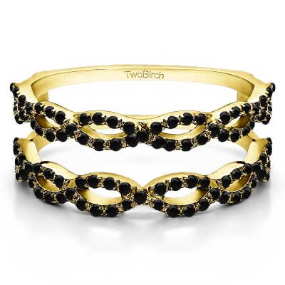 0.55 Ct. Black Stone Infinity Prong Set ring guard in Yellow Gold