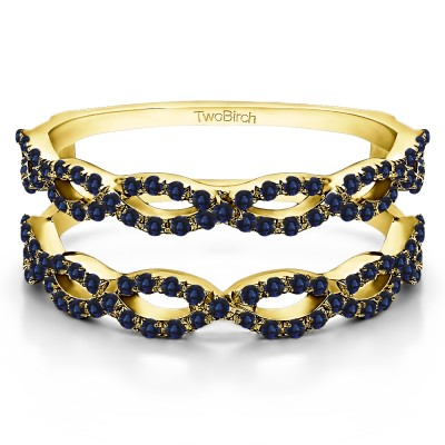 0.55 Ct. Sapphire Infinity Prong Set ring guard in Yellow Gold