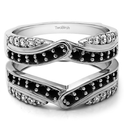 1.01 Ct. Black and White Stone Infinity Bypass Engagement Ring Guard