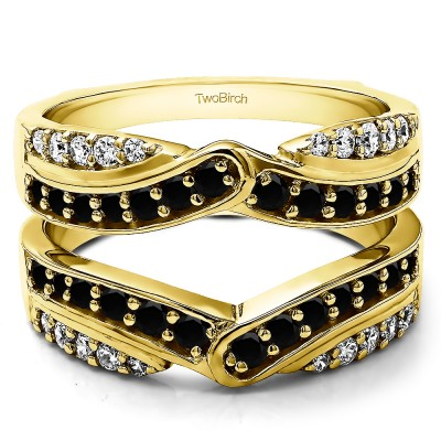 1.01 Ct. Black and White Stone Infinity Bypass Engagement Ring Guard in Yellow Gold