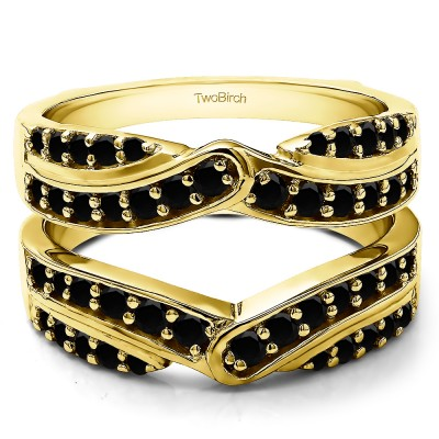 1.01 Ct. Black Stone Infinity Bypass Engagement Ring Guard in Yellow Gold