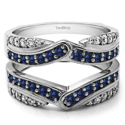 1.01 Ct. Sapphire and Diamond Infinity Bypass Engagement Ring Guard