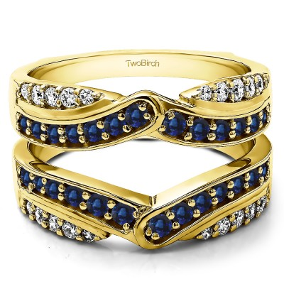 1.01 Ct. Sapphire and Diamond Infinity Bypass Engagement Ring Guard in Yellow Gold
