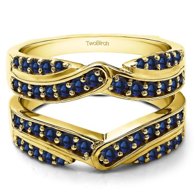1.01 Ct. Sapphire Infinity Bypass Engagement Ring Guard in Yellow Gold