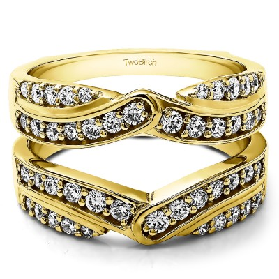 1.01 Ct. Infinity Bypass Engagement Ring Guard in Yellow Gold