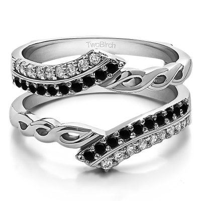 0.38 Ct. Black and White Stone Double Row Bypass Infinity ring guard