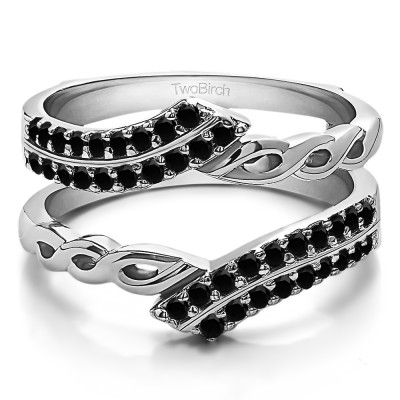 0.38 Ct. Black Stone Double Row Bypass Infinity ring guard