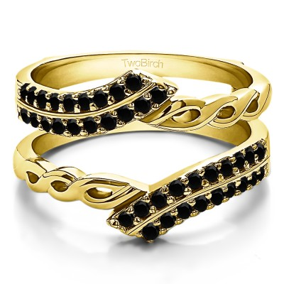 0.38 Ct. Black Stone Double Row Bypass Infinity ring guard in Yellow Gold