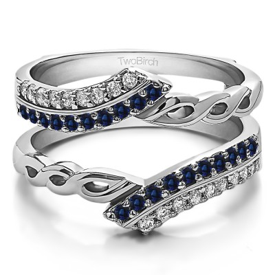 0.38 Ct. Sapphire and Diamond Double Row Bypass Infinity ring guard