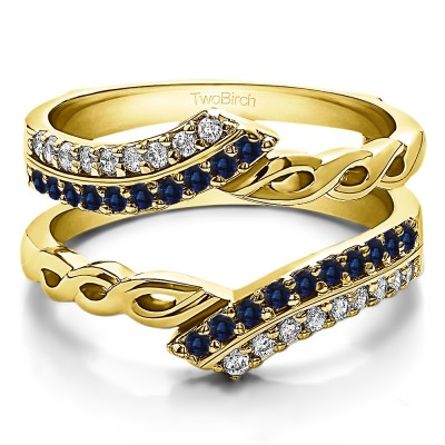 0.38 Ct. Sapphire and Diamond Double Row Bypass Infinity ring guard in Yellow Gold