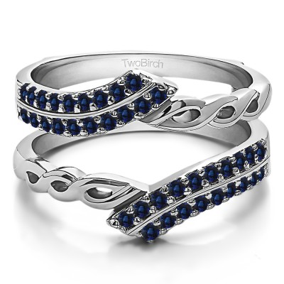 0.38 Ct. Sapphire Double Row Bypass Infinity ring guard