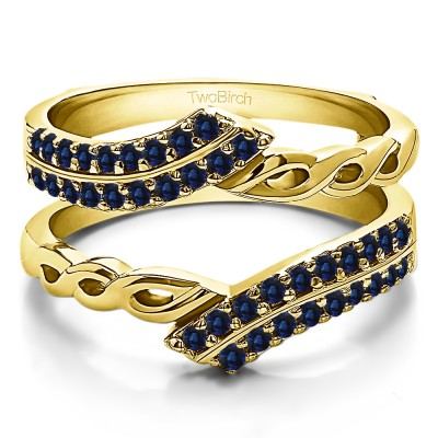 0.38 Ct. Sapphire Double Row Bypass Infinity ring guard in Yellow Gold