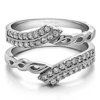 0.38 Ct. Double Row Bypass Infinity ring guard
