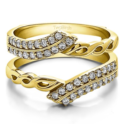 0.38 Ct. Double Row Bypass Infinity ring guard in Yellow Gold
