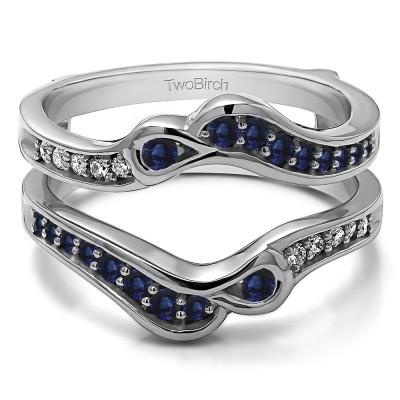 0.46 Ct. Sapphire and Diamond Drop Shaped Ying Yang Ring Jacket