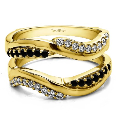 0.43 Ct. Black and White Stone Double Row Bypass Ring Guard Enhancer in Yellow Gold