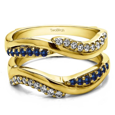 0.43 Ct. Sapphire and Diamond Double Row Bypass Ring Guard Enhancer in Yellow Gold