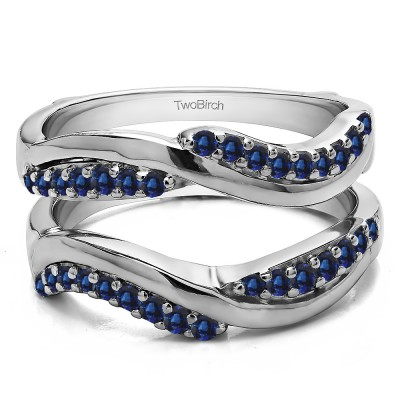 0.43 Ct. Sapphire Double Row Bypass Ring Guard Enhancer