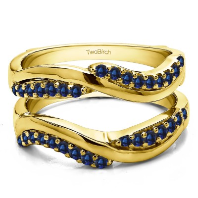 0.43 Ct. Sapphire Double Row Bypass Ring Guard Enhancer in Yellow Gold