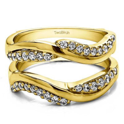0.43 Ct. Double Row Bypass Ring Guard Enhancer in Yellow Gold