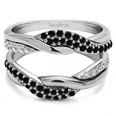 0.54 Ct. Black and White Stone Bypass Shared Prong Engagement ring guard