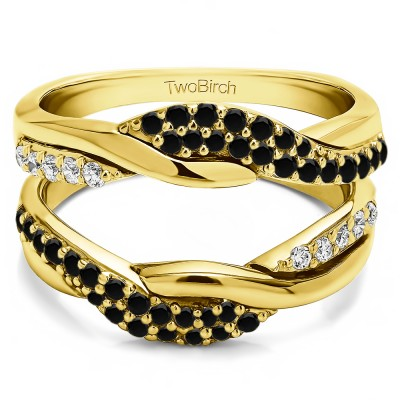 0.54 Ct. Black and White Stone Bypass Shared Prong Engagement ring guard in Yellow Gold