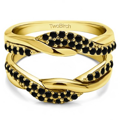 0.54 Ct. Black Stone Bypass Shared Prong Engagement ring guard in Yellow Gold