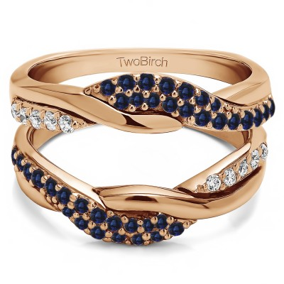 0.54 Ct. Sapphire and Diamond Bypass Shared Prong Engagement ring guard in Rose Gold