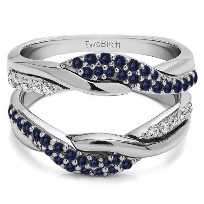 0.54 Ct. Sapphire and Diamond Bypass Shared Prong Engagement ring guard