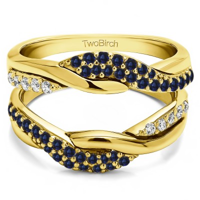 0.54 Ct. Sapphire and Diamond Bypass Shared Prong Engagement ring guard in Yellow Gold