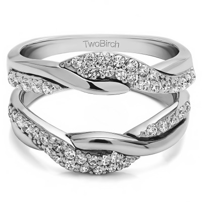 0.54 Ct. Bypass Shared Prong Engagement ring guard