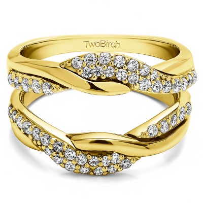 0.54 Ct. Bypass Shared Prong Engagement ring guard in Yellow Gold