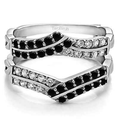 0.66 Ct. Black and White Stone Double Row Criss Cross Ring Guard Enhancer