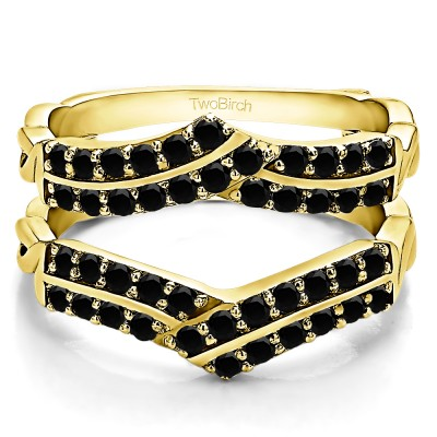 0.66 Ct. Black Stone Double Row Criss Cross Ring Guard Enhancer in Yellow Gold