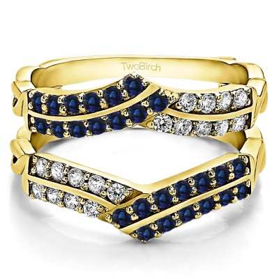 0.66 Ct. Sapphire and Diamond Double Row Criss Cross Ring Guard Enhancer in Yellow Gold