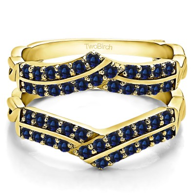 0.66 Ct. Sapphire Double Row Criss Cross Ring Guard Enhancer in Yellow Gold