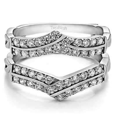 0.66 Ct. Double Row Criss Cross Ring Guard Enhancer