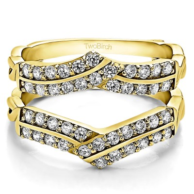 0.66 Ct. Double Row Criss Cross Ring Guard Enhancer in Yellow Gold